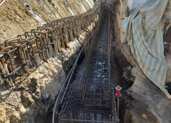 排水溝鋼筋綁扎作業