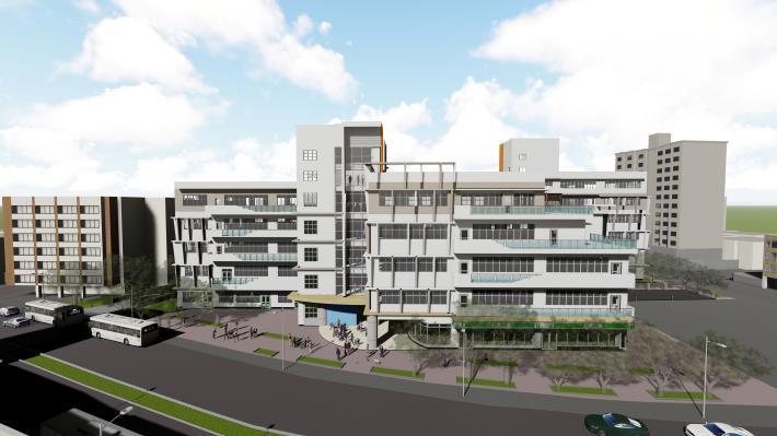 圖4建築物完成模擬圖(由北往南看)