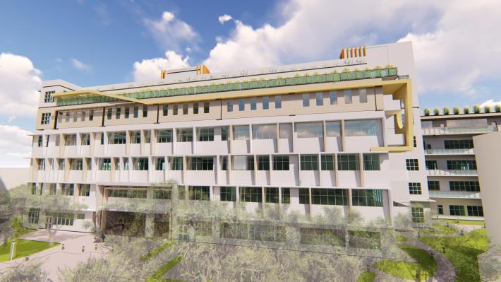 圖2建築物完成模擬圖(由南往北看)