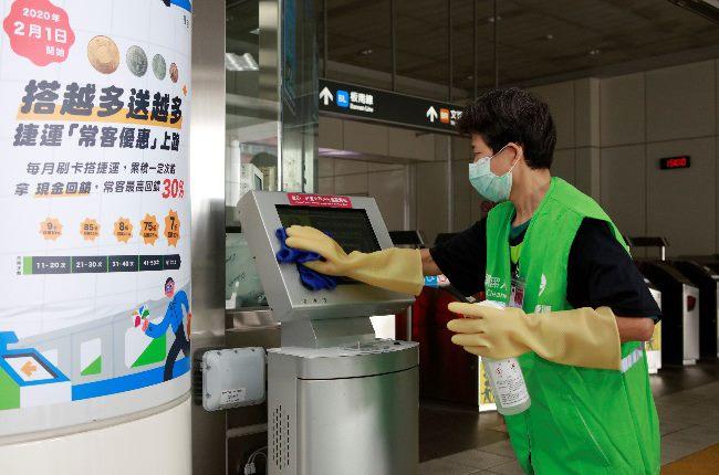 車票查詢機消毒作業