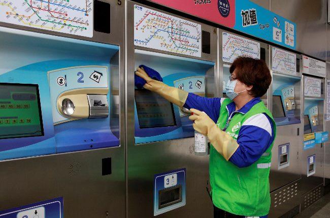 自動售票機消毒作業