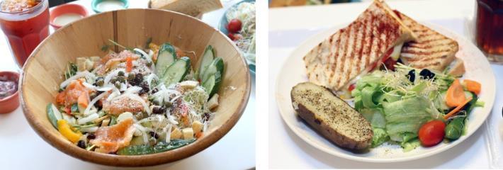 用木盆裝的煙燻鮭魚木盆沙拉(左)、帕尼尼早午餐也深得老饕推薦(右)