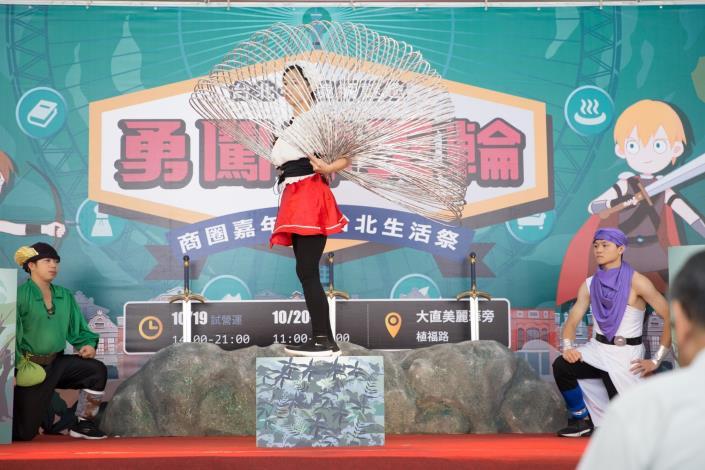 特技表演團體於2018商圈嘉年華-台北生活祭記者會現場上精彩演出