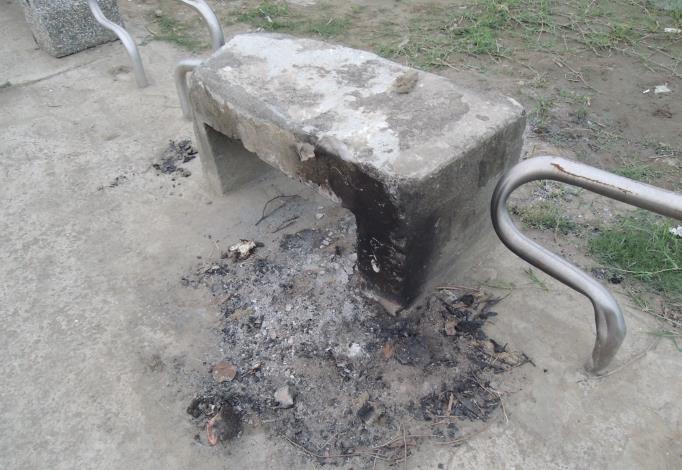 圖2.民眾烤肉造成設施污損。
