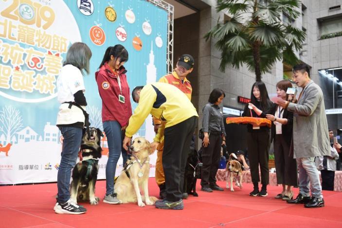 柯市長致贈感謝勳章予檢疫犬、搜救犬、校園犬、狗醫生、導盲犬,感謝牠們一年來的辛勤付出