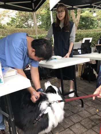 圖4. 臺北市動物保護處攤位免費為毛孩施打動物狂犬病疫苗及寵物登記