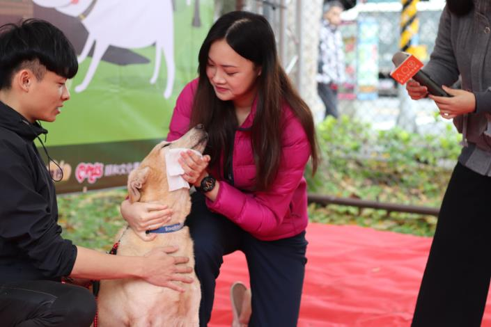 圖9-蔡曼琳獸醫師為民眾示範如何幫狗狗進行簡易清潔消毒.JPG