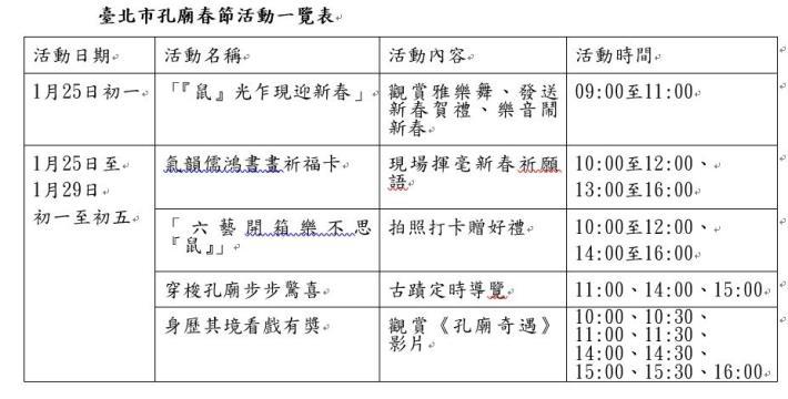 春節活動一覽表