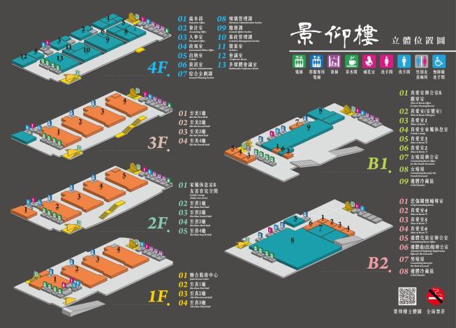 圖片說明:第二殯儀館景仰樓各樓層、禮廳等設施位置圖。有關景仰樓之樓層配置說明:一樓為聯合服務中心及至真1~3廳;二樓備有家屬休息室及友善育兒空間及至善1~4廳;三樓則為至美1~4廳,四樓則為本處處本部行政辦公區域。地下樓的部分:地下1樓為真愛室1~3至及其辦公室、女殮房及遺體冷藏區;地下2樓則備有真愛室4~6、遺體化妝室辦公室、遺體進出館辦公室、悲傷關懷輔導室、男殮房及遺體冷藏區。