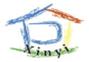 紅色屋瓦、米黃色牆與綠色大地營造「家」的意像LOGO,結合藍色的「戶」。Xinyi的部分做微笑曲線的處理,強調親切便民的服務精神。