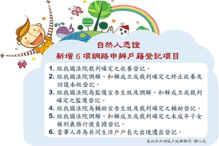 內政部新增6項可用自然人憑證網路申辦戶籍登記項目
