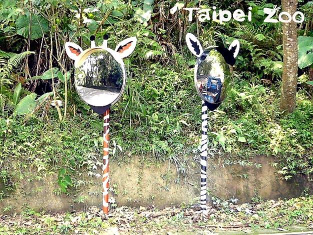 到了叉路處,稍加留意便能發現動物園內獨有、造型可愛的「道路反射鏡」[開啟新連結]