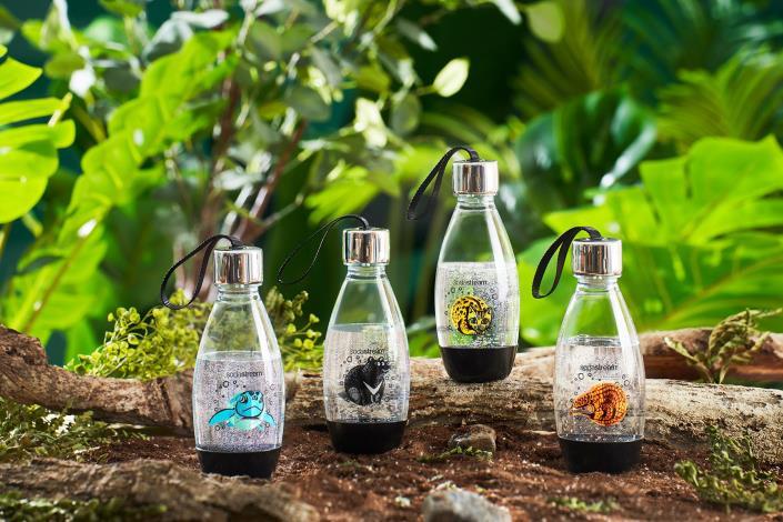 【愛台灣動物水瓶】瓶身由回收寶特瓶製作可重複使用,產品銷售將捐出5%予本園動物認養專戶作為動物保育工作使用,進一步回饋台灣,用隨身水瓶一起減塑愛台灣!