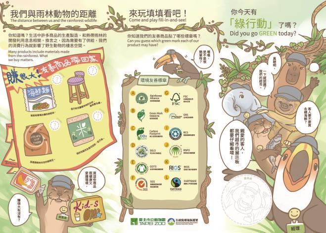 認識猩猩超市-貨架上的雨林學習單(背面)