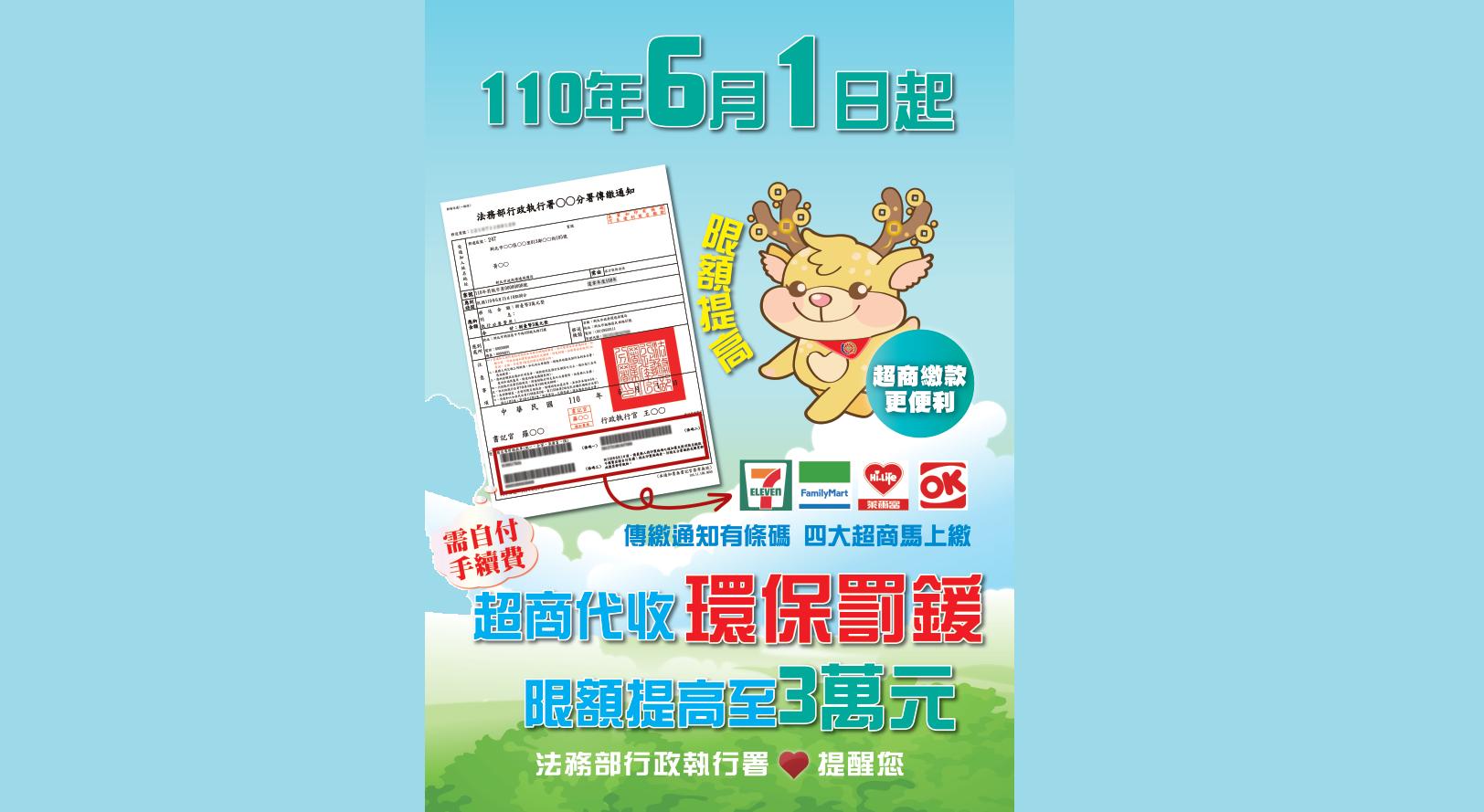 110年6月1日起超商代收環保罰鍰限額提高至3萬元
