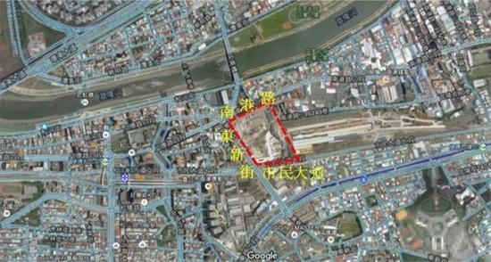 南港區玉成自辦市地重劃區航照位置圖