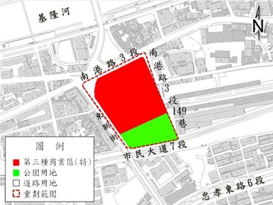 南港區玉成自辦市地重劃範圍及土地使用分區示意圖