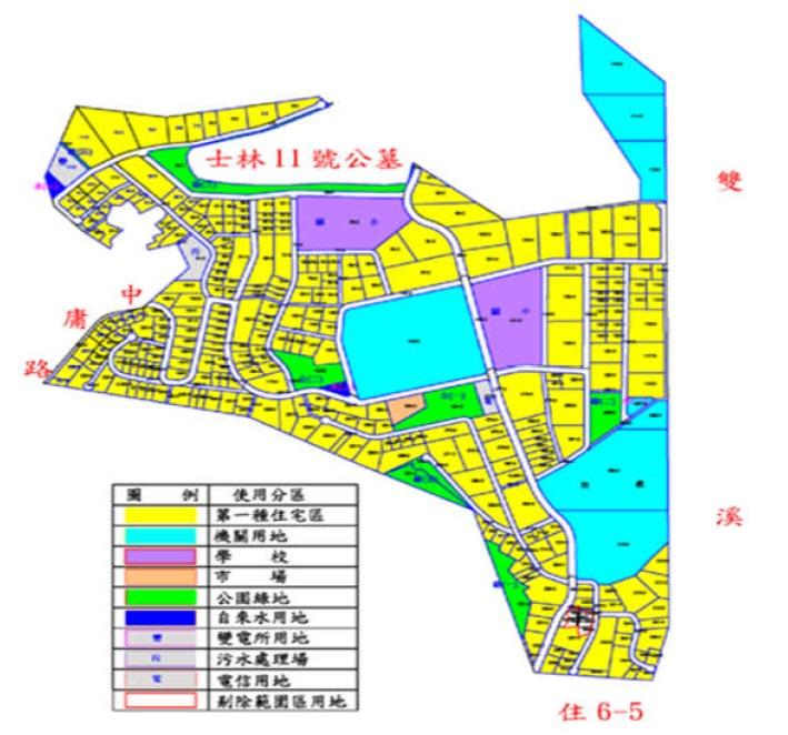 士林區住六之六自辦市地重劃範圍及土地使用分區示意圖