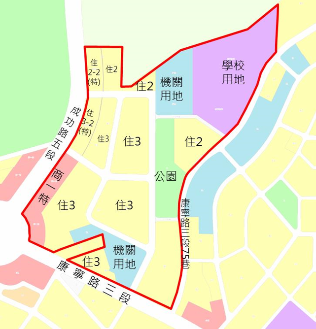 內湖區第二期自辦市地重劃範圍及土地使用分區示意圖