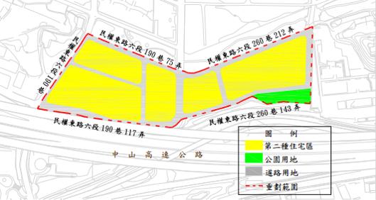 內湖石潭自辦市地重劃範圍及土地使用分區示意圖