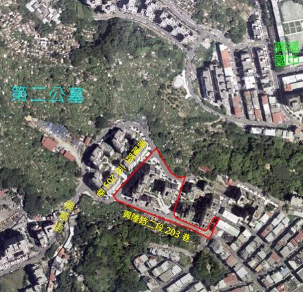 文山區興隆段第一期自辦市地重劃區航照位置圖