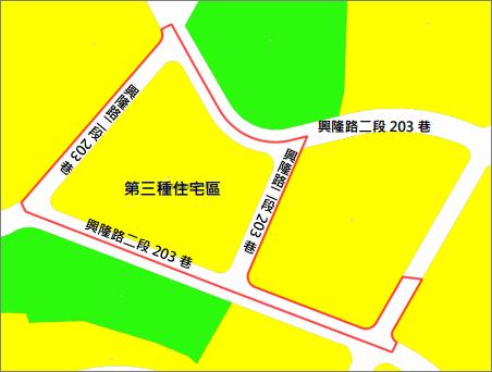 文山區興隆段第一期自辦市地重劃範圍及土地使用分區示意圖