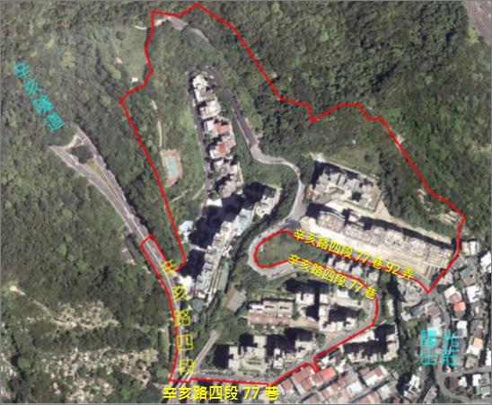 景美區第一期自辦市地重劃區航照位置圖