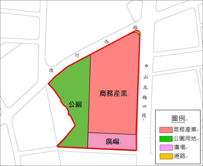 重劃範圍及土地使用分區示意圖