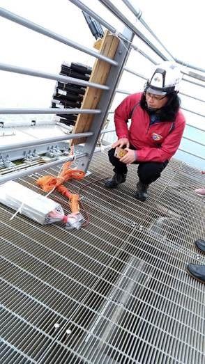 臺北市政府勞動局賴香伶局長檢視101燈光煙火秀搭設作業