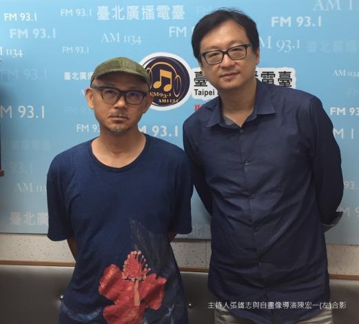 主持人張鐵志與自畫像導演陳宏一(左)合影。[開啟新連結]