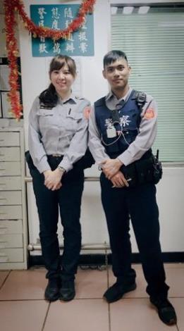 警員孫欣怡(左)與伊斯巴拉淦‧巴尼杜兒(右)[另開新視窗]