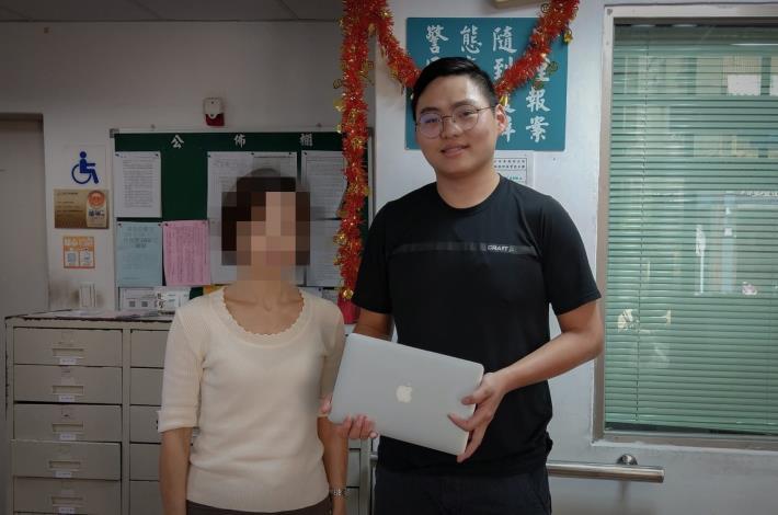 南港分局警員黃建樺協助日籍旅客找回遺失3個月的筆記型電腦