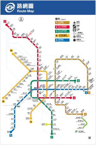 現行捷運系統路線圖