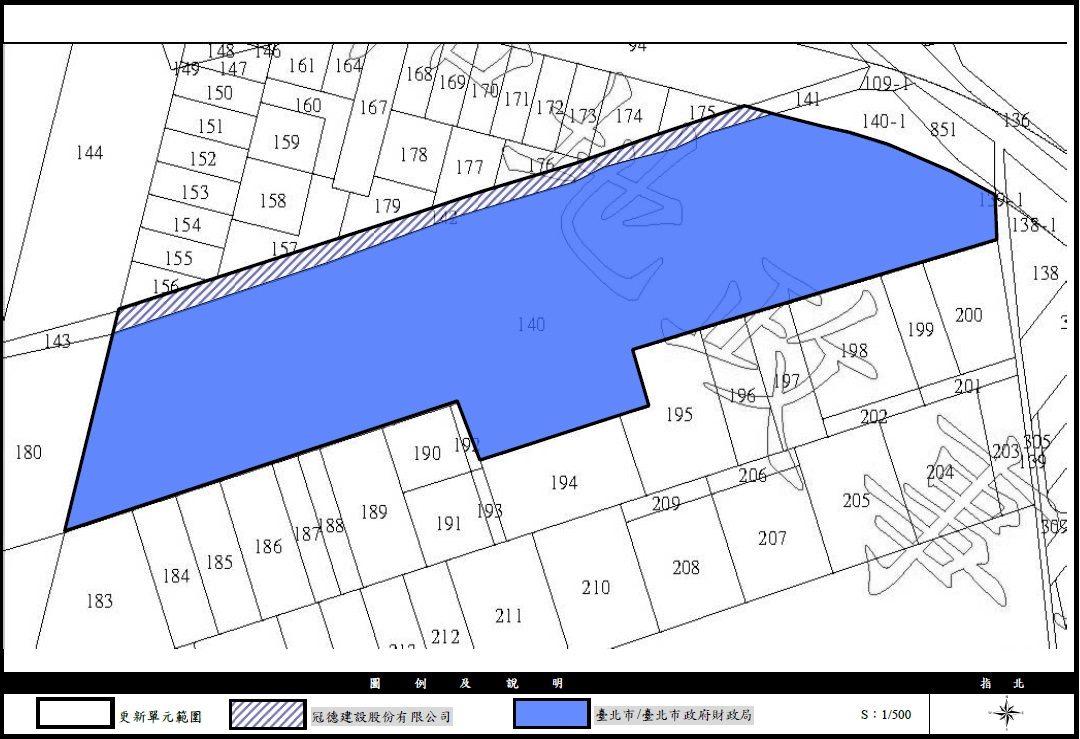 中和區新和段冠德建設範圍及臺北市政府財政局範圍