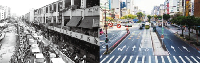 The old Zhonghua Mall was full of new andfashionable products, causing people tocrowd in. (Photo: Wang Neng-you)/With Zhonghua Mall torn down, ZhonghuaRoad is now the main traffic route in Taipei City.(Photo: Business Today)