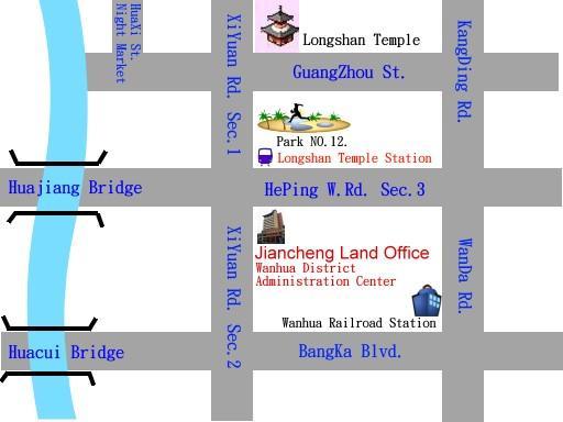 Location of Jiancheng Land Office of Taipei City