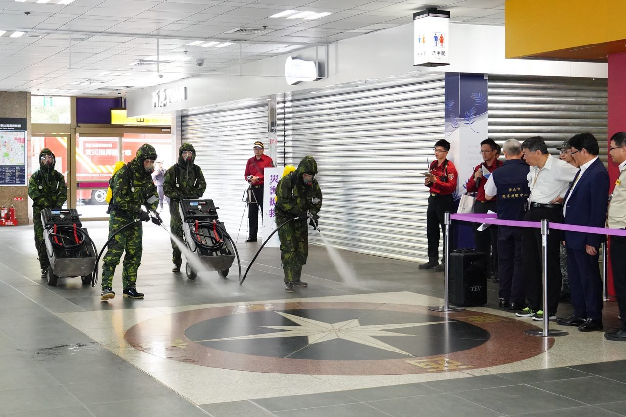 Drill being conducted at Taipei Main Station