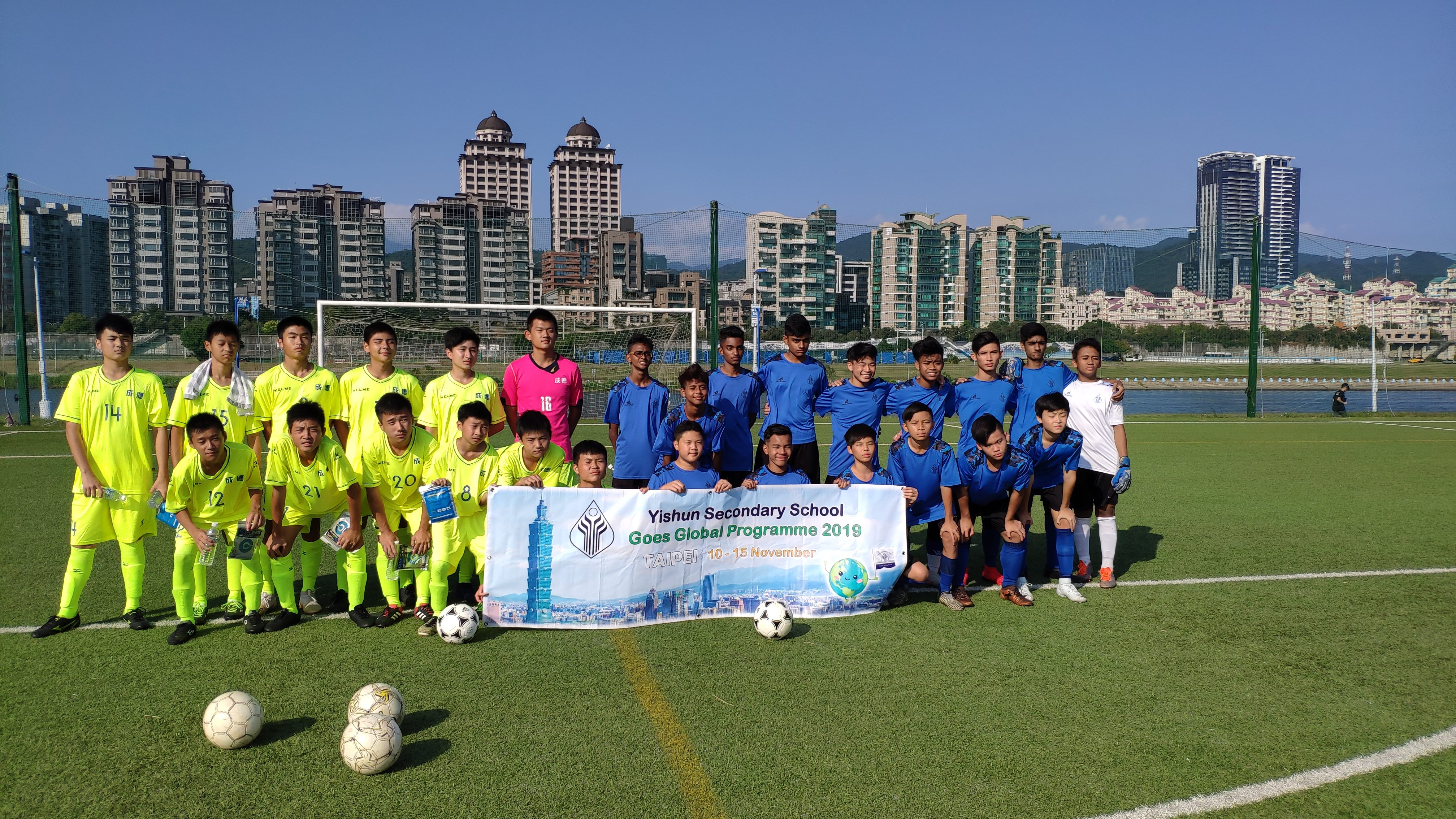 Students from Singapore test soccer skills with their local counterparts