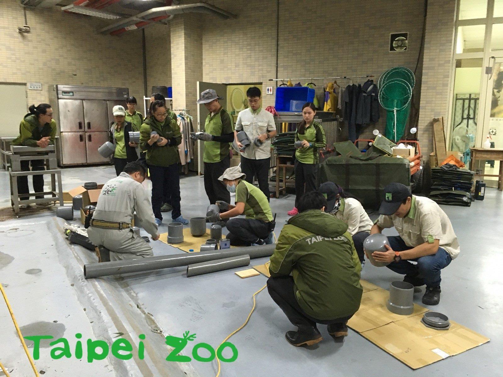 Zoo staff works on DIY animal toys