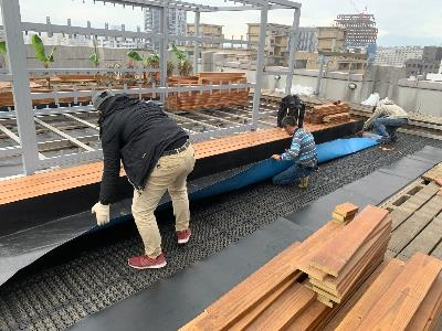 Workers at a rooftop facility construction site