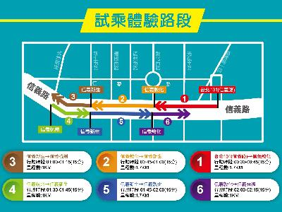 Map of the separate zones for autonomous bus rides along Xinyi Road