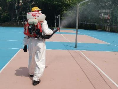 Disinfection work at school campuses