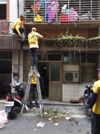環保局人員清理屋頂天溝雜草