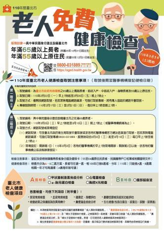 110年臺北市老人健檢宣導單張正面