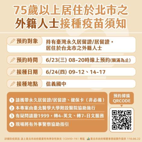 75歲以上居住於本市之外籍人士接種疫苗須知(中文)