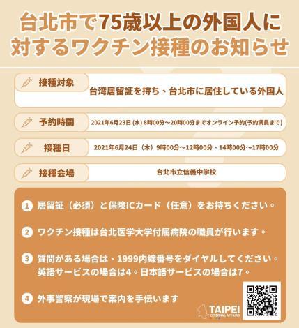 75歲以上居住於本市之外籍人士接種疫苗須知(日文)