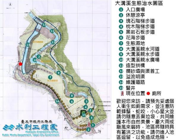 大溝溪生態治水園區佔地約4.59公頃,是北市第一座兼具生態滯洪功能的調洪沉砂池 (2)