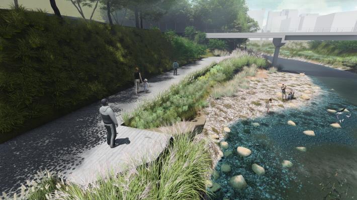 景美溪上游 指南溪匯流處設計模擬圖