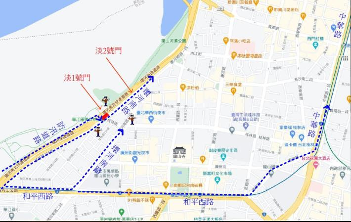淡3號門施工期間淡1號門桂林往北機車道改道動線