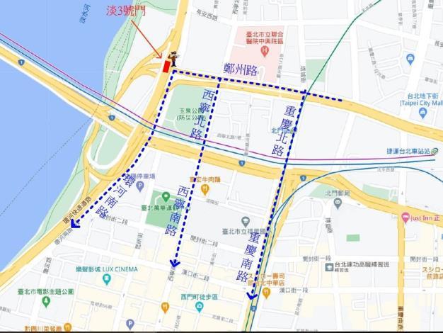 淡3號門施工期間車輛往南改道動線
